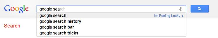 谷歌的搜索建议